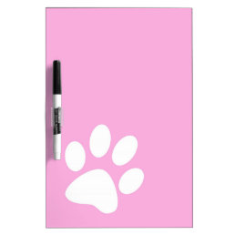 pink animal pet paw print dry erase board
