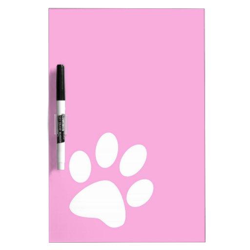 pink animal pet paw print dry erase board