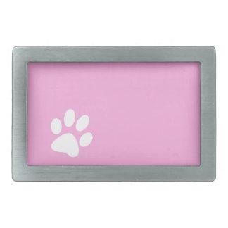 pink animal pet paw print rectangular belt buckle