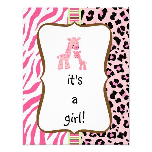 "pink animal print baby shower invitation 4.25"" x 5.5"" invitation card | Zazzle"