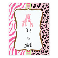 Pink leopard baby shower invitations announcements zazzle pink animal print baby shower invitation filmwisefo Gallery