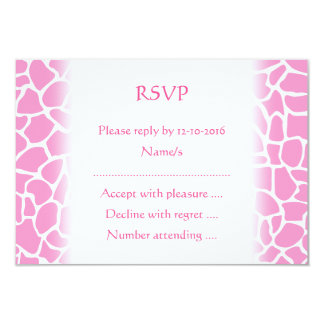 Pink Animal Print Giraffe Pattern 3.5x5 Paper Invitation Card