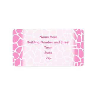 Pink Animal Print Giraffe Pattern Label