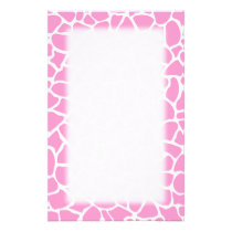 Pink Animal Print Giraffe Pattern Stationery