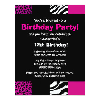 Pink Animal Print Party Invitation
