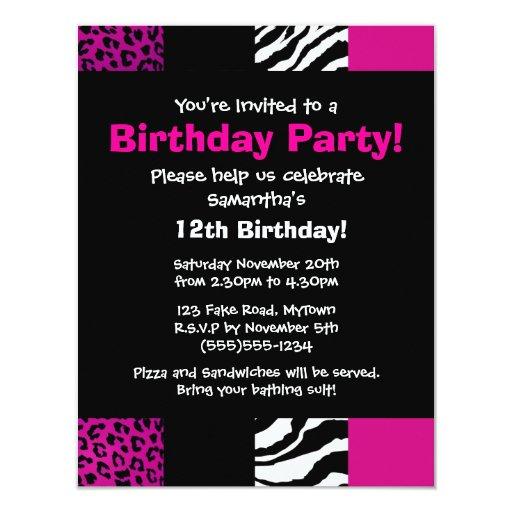Pink Animal Print Party Invitation