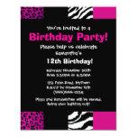 "Pink Animal Print Party Invitation 4.25"" X 5.5"" Invitation Card"