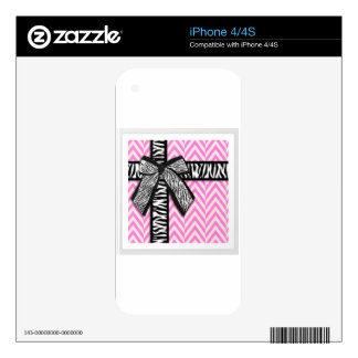 Pink animal print with bow design iPhone 4 decals