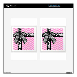 Pink animal print with bow design kindle fire skins
