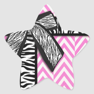 Pink animal print with bow design star sticker
