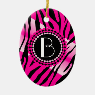 Pink Animal Print Zebra Pattern and Monogram Ceramic Ornament