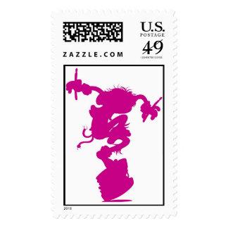 Pink Animal Silhouette Drumming Disney Stamp