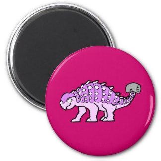 Pink Ankylosaurus Girl 2 Inch Round Magnet