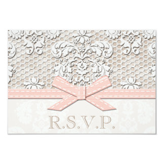 Pink Antique Lace RSVP Wedding Response Cards