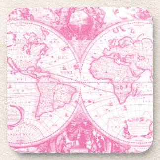 Pink Antique Map of the World Beverage Coasters