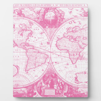 Pink Antique Map of the World Display Plaque