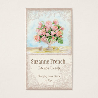 Pink Antique Vintage Elegant Lavish French Roses Business Card