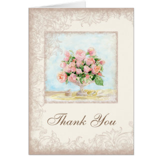 Pink Antique Vintage Elegant Lavish French Roses Card