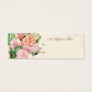 Pink Antique Vintage Elegant Lavish French Roses Mini Business Card