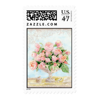 Pink Antique Vintage Elegant Lavish French Roses Postage