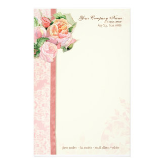 Pink Antique Vintage Elegant Lavish French Roses Stationery