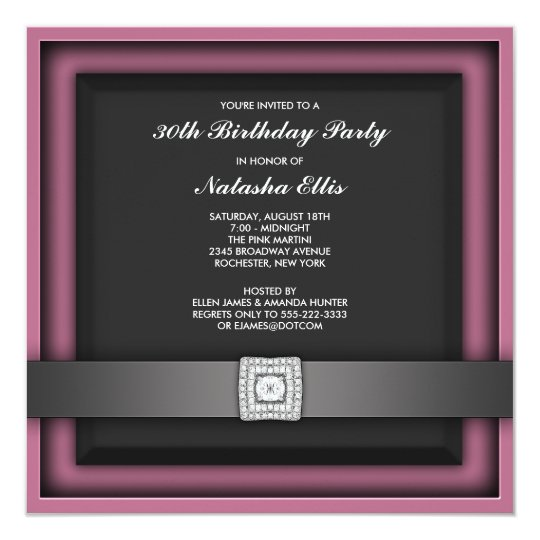Pink Any Number Birthday Party Invitation Template