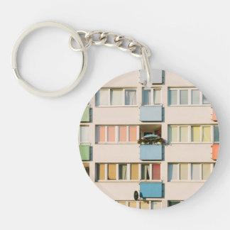 Pink Apartment Building, Uran Architecture Keychain