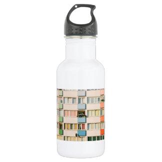 Pink Apartment Building, Uran Architecture Water Bottle