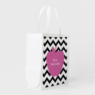 Pink Apple Black Chevron Teacher Grocery Bag