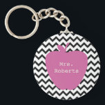 "Pink Apple Black Chevron Teacher Keychain<br><div class=""desc"">A teacher gift featuring an illustration of a pink apple over a black and white chevron background.  Personalize with your name over apple.</div>"
