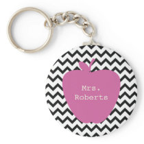 Pink Apple Black Chevron Teacher Keychain