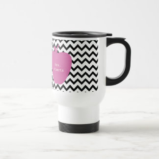 Pink Apple Black Chevron Teacher 15 Oz Stainless Steel Travel Mug