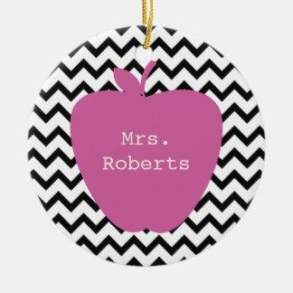 Pink Apple Black Chevron Teacher Double-Sided Ceramic Round Christmas Ornament
