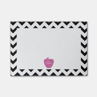 Pink Apple Black Chevron Teacher Post-it® Notes