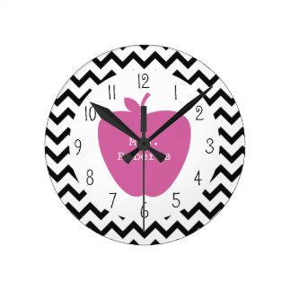 Pink Apple Black Chevron Teacher Round Clock