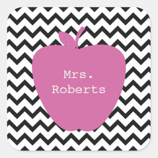 Pink Apple Black Chevron Teacher Square Sticker
