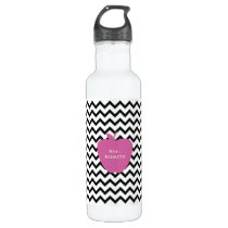 Pink Apple Black Chevron Teacher Stainless Steel Water Bottle