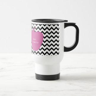 Pink Apple Black Chevron Teacher Travel Mug