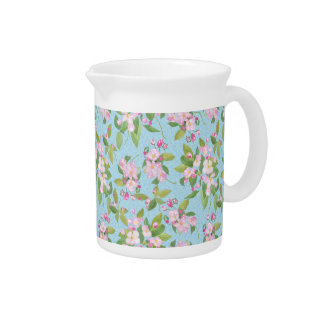 Pink Apple Blossom Floral on Leafy Blue Background Beverage Pitchers