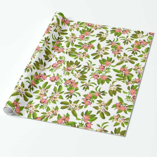 Pink Apple Blossom Flowers Wrapping Paper | Zazzle.com