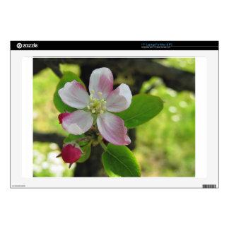 "Pink apple blossoms 17"" laptop skins"