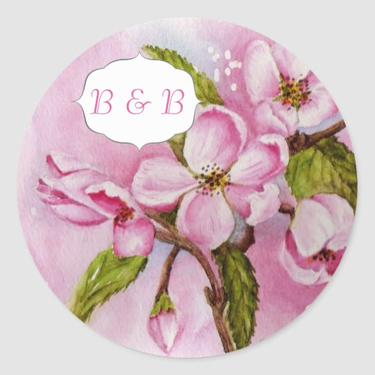 PINK APPLE BLOSSOMS WATERCOLOR FLOWER STICKERS | Zazzle.com