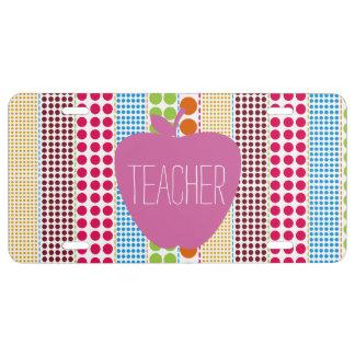 Pink Apple Boho Dots Teacher License Plate Cover
