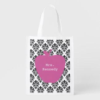 Pink Apple Damask Reusable Grocery Bag