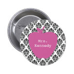 Pink Apple Damask Teacher Buttons