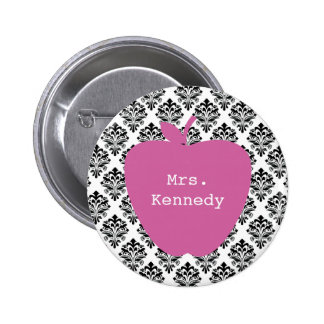 Pink Apple Damask Teacher Pinback Button