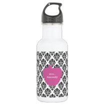 Pink Apple Damask Teacher Stainless Steel Water Bottle