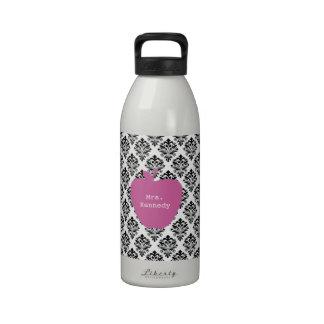 Pink Apple Damask Teacher Water Bottles