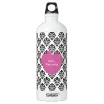 Pink Apple Damask Teacher Water Bottle