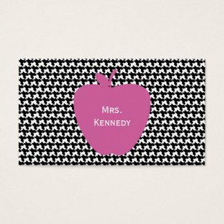 Pink Apple Houndstooth Teacher Business Card